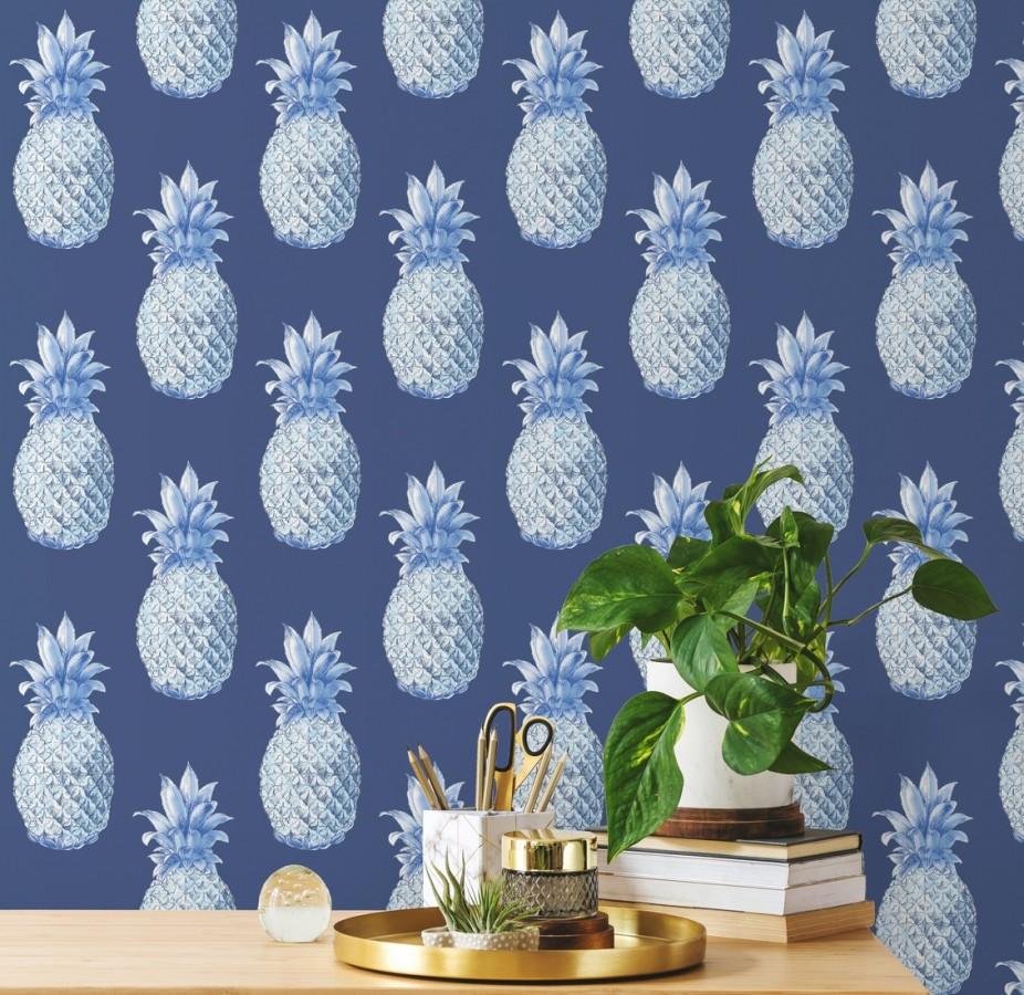 Papel pintado de piñas azules estilo tropical Tropical Fruit 679752