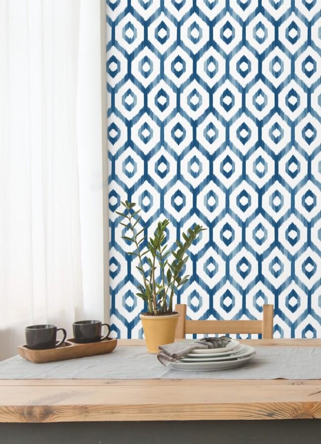 Papel pintado celosía geométrica estilo nórdico tonos azules Hendel 679756