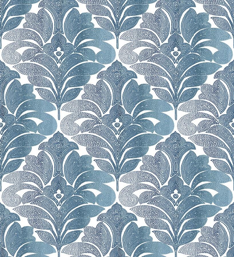 Papel pintado damasco floral moderno tonos azules Villa Borghese 679758