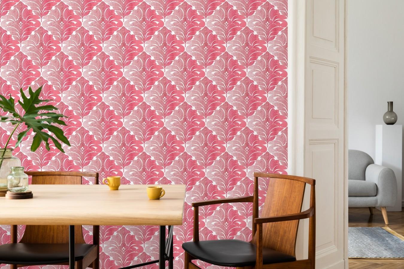Papel pintado damasco floral moderno tonos rojos Villa Borghese 679759