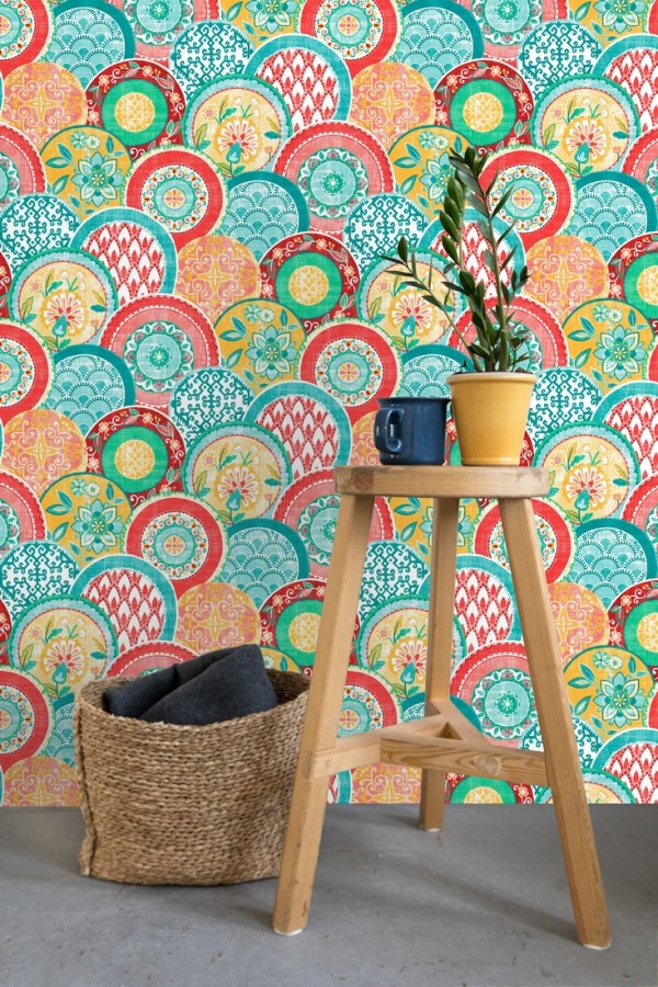 Papel pintado mandalas estilo hindú multicolor Bohemian Plates 679760