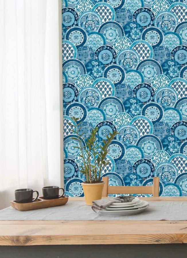 Papel pintado mandalas estilo hindú azul Bohemian Plates 679761