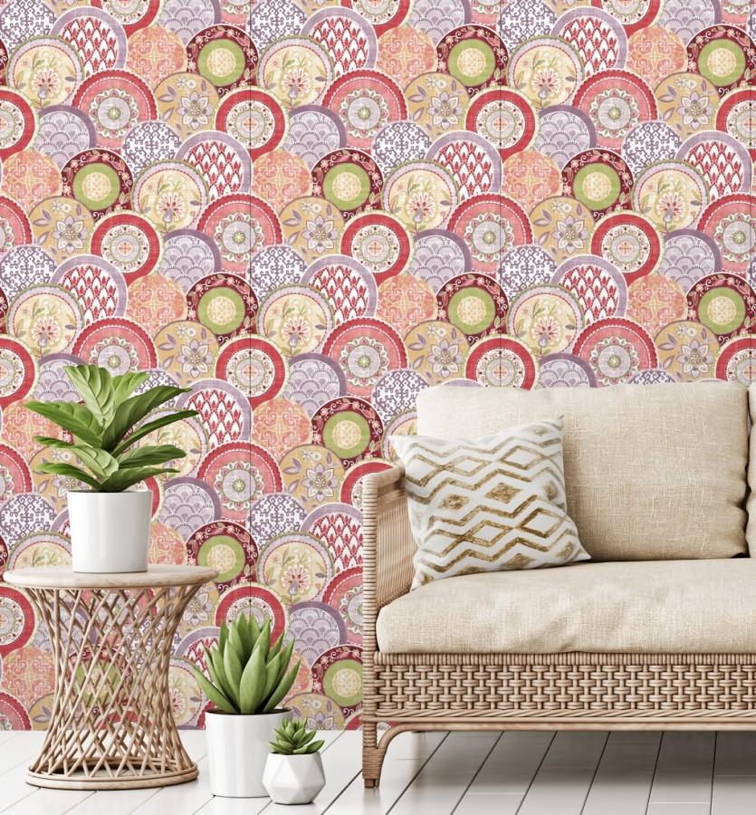 Papel pintado mandalas estilo hindú multicolor tonos palidos Bohemian Plates 679762