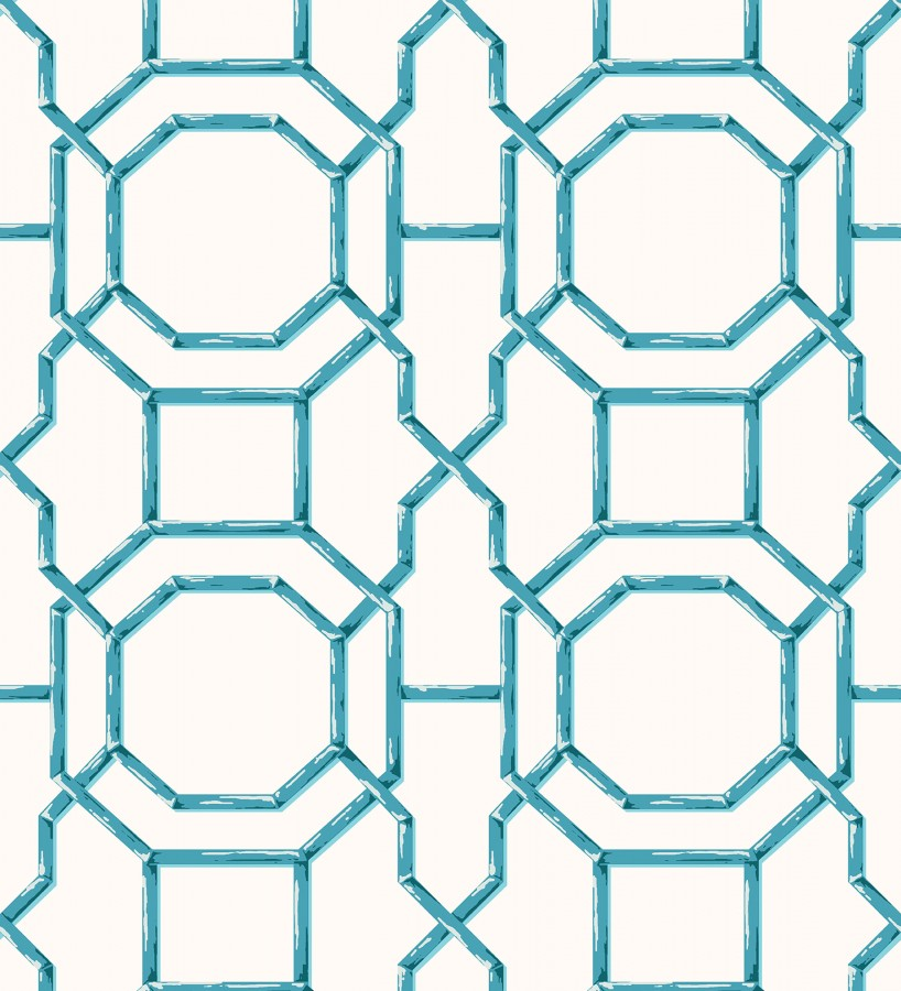 Papel pintado geométrico enrejado moderno turquesa Montecarlo 679763