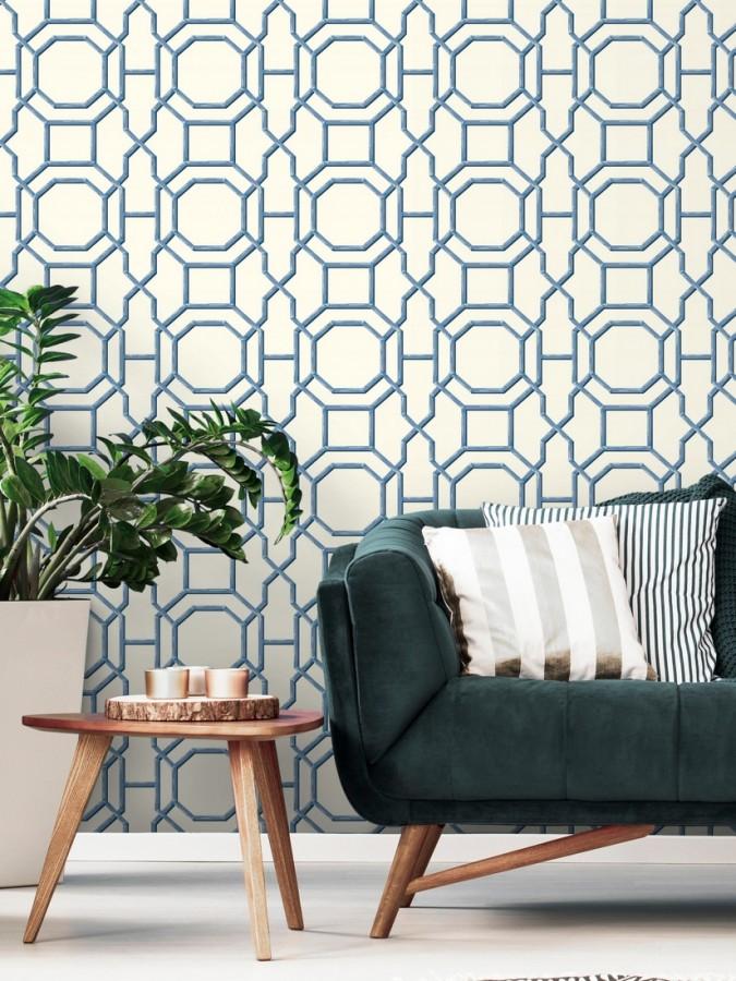 Papel pintado geométrico enrejado moderno azul Montecarlo 679764