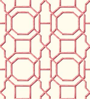Papel pintado geométrico enrejado moderno rojo Montecarlo 679765