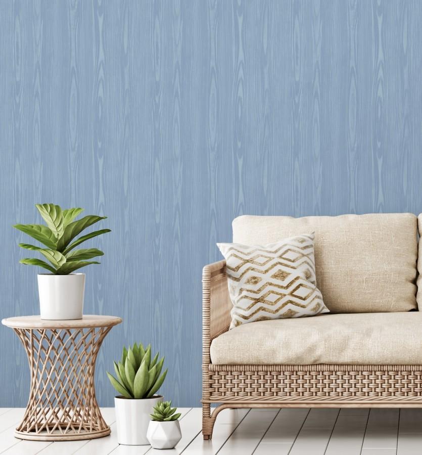 Papel pintado madera veteada azul claro estilo tropical Devon Forest 679767