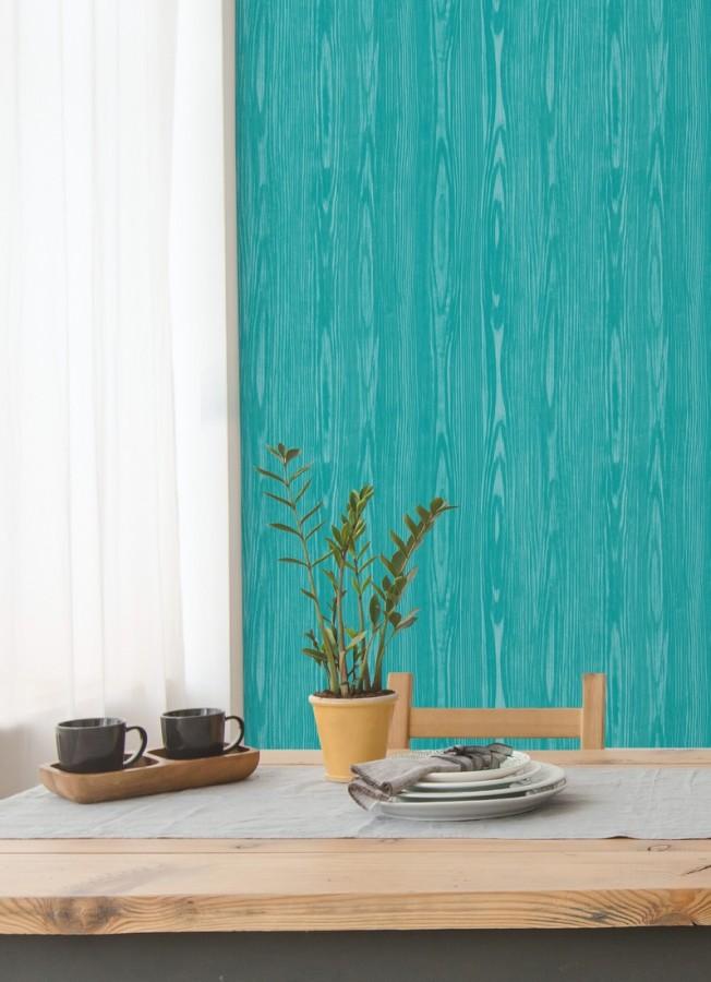 Papel pintado madera veteada turquesa estilo tropical Devon Forest 679769