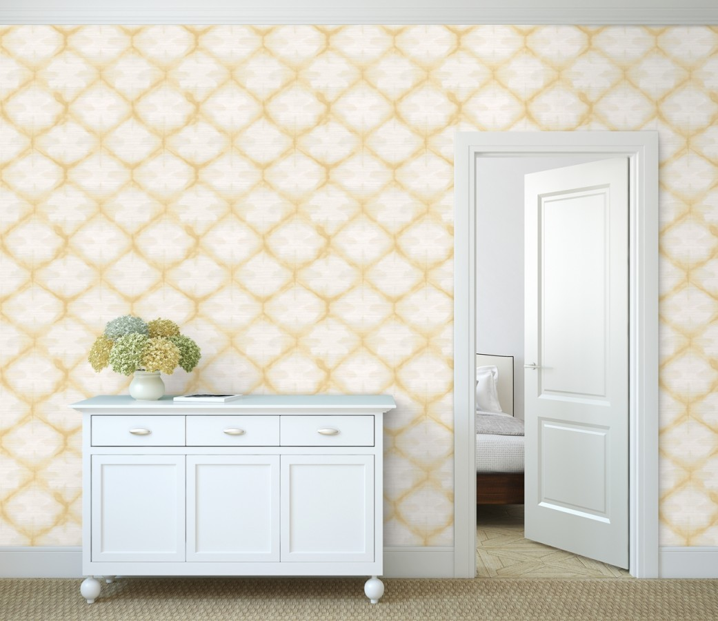 Papel pintado geométrico degradado moderno amarillo Bohemian Vibes 679774