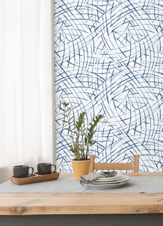 Papel pintado de trazos azules a mano alzada Gallery Hall 679785