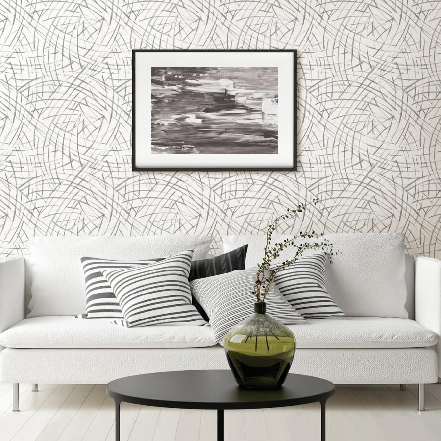 Papel pintado de trazos grises a mano alzada Gallery Hall 679788