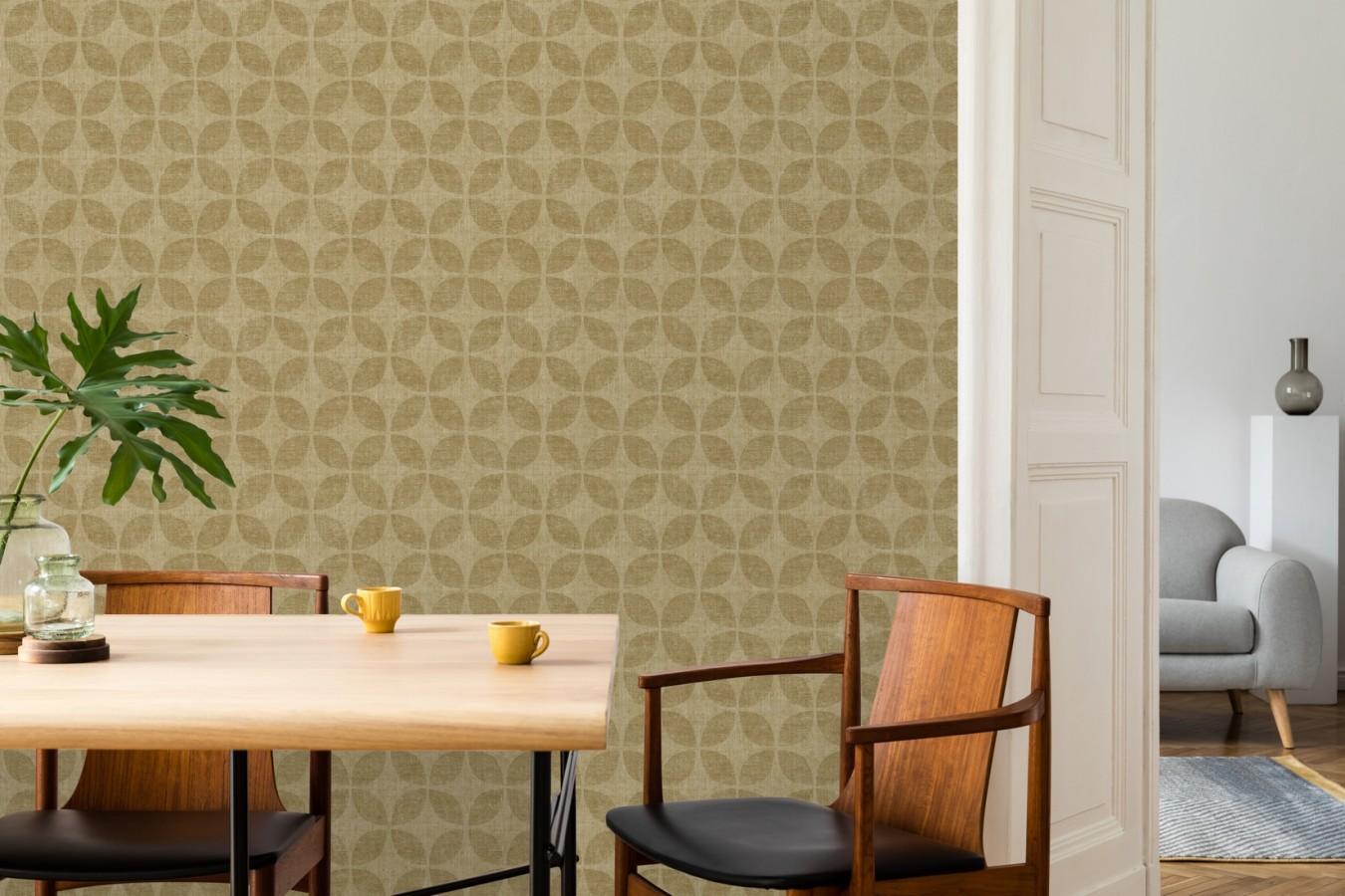 Papel pintado geométrico de círculos entrelazados tonos dorado envejecido Clarkson 679794
