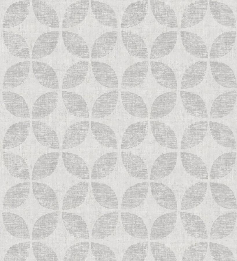Papel pintado geométrico de círculos entrelazados tono gris claro Clarkson 679796