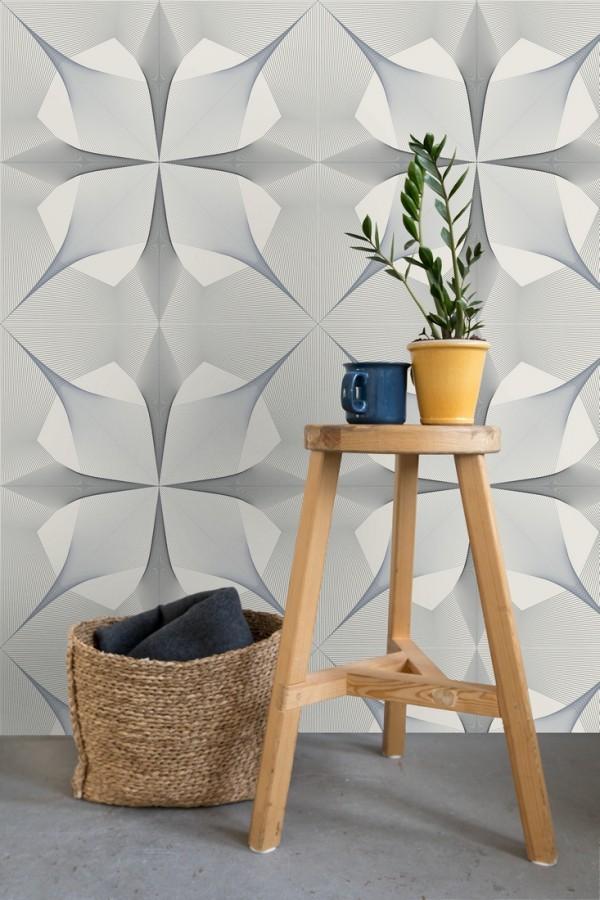Papel pintado de dibujo fractal tonos negro y azul metalizado fondo gris claro Edison House 679805