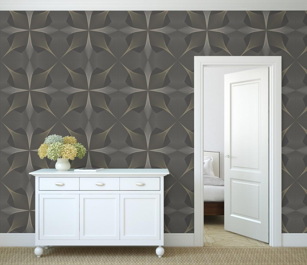 Papel pintado de dibujo fractal tonos bronce metalizado fondo gris mate Edison House 679806