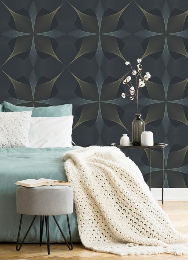 Papel pintado de dibujo fractal tonos azules y broces metalizados fondo azul oscuro mate Edison House 679807