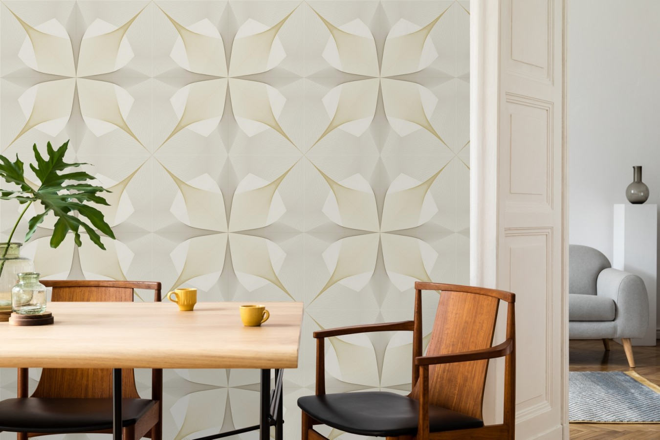 Papel pintado de dibujo fractal tono dorado metalizado fondo blanco roto Edison House 679808