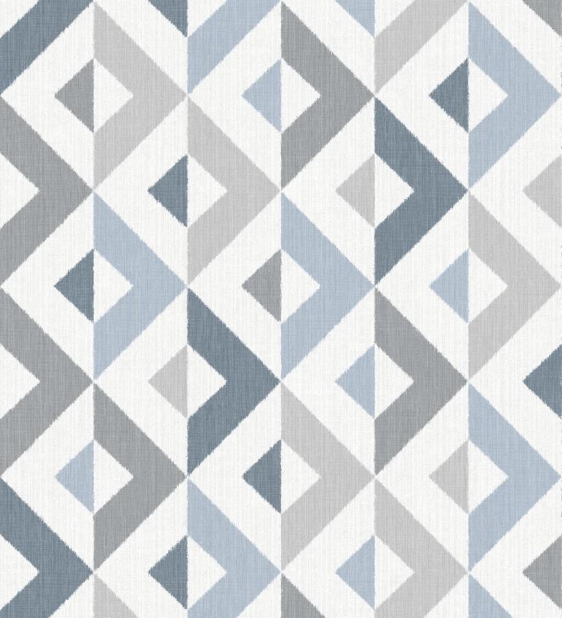 Papel pintado geométrico efecto textil tonos azules y grises Geometric House 679822