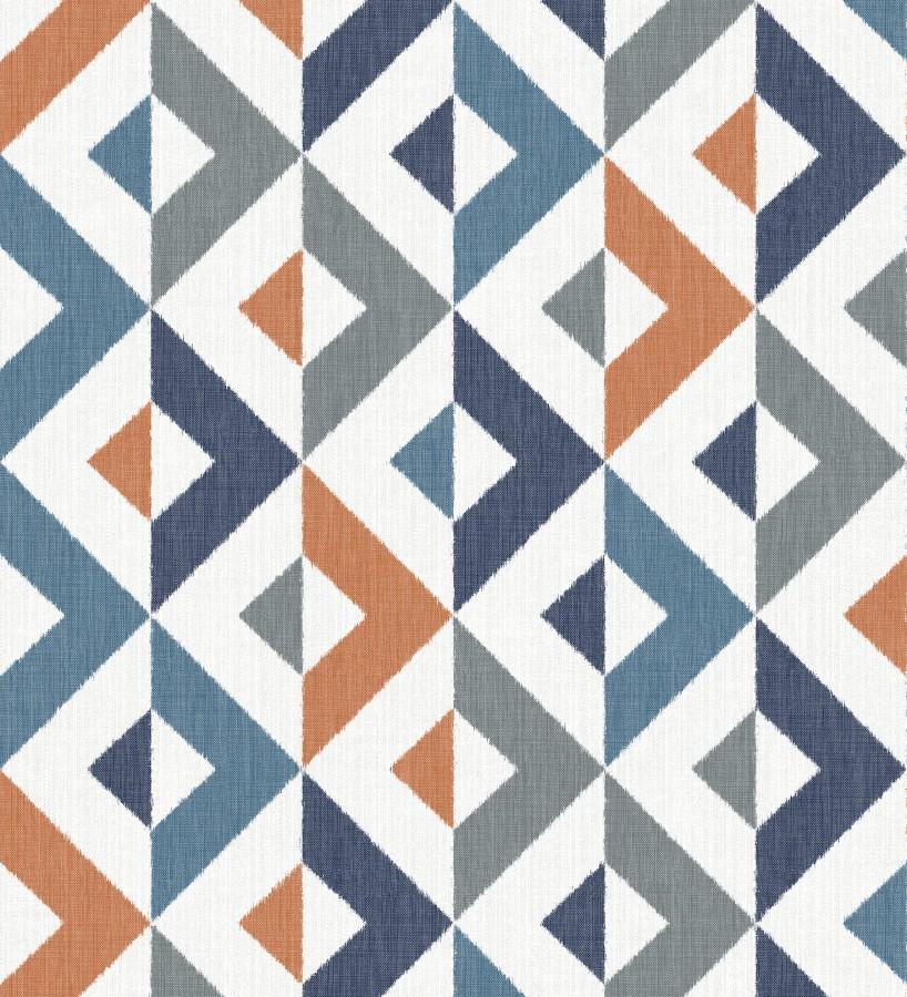 Papel pintado geométrico efecto textil azul y teja Geometric House 679823