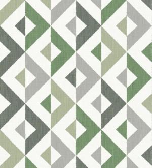 Papel pintado geométrico efecto textil tonos verdes Geometric House 679824