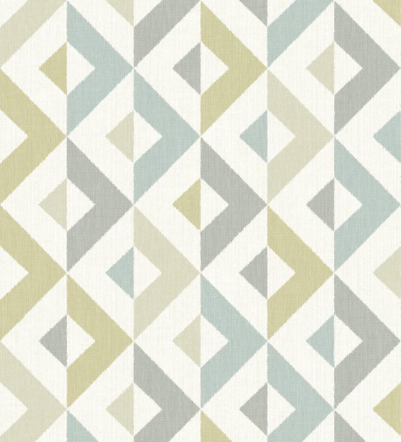 Papel pintado geométrico efecto textil turquesa y lima Geometric House 679825