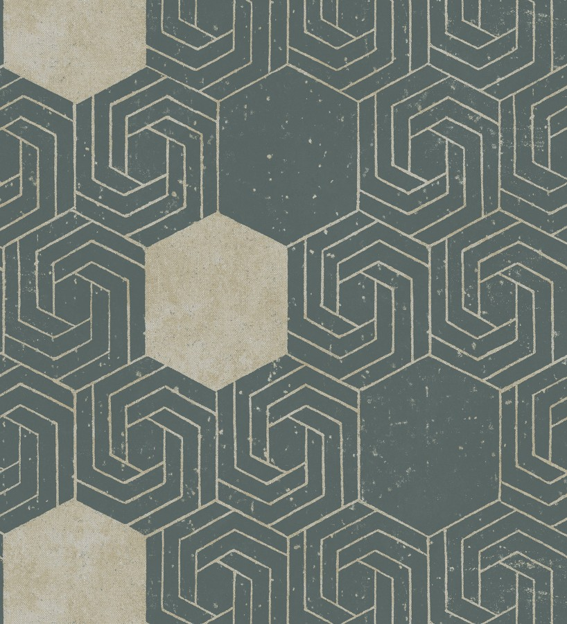 Papel pintado geométrico hexagonal color aluminio dorado fondo verde pálido mate Kendal 679826