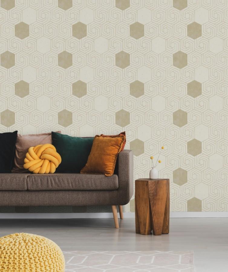Papel pintado geométrico hexagonal color aluminio dorado fondo beige pálido mate Kendal 679827
