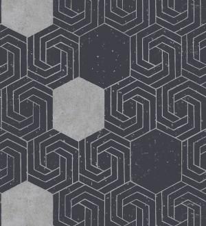 Papel pintado geométrico hexagonal color plata metalizado fondo azul oscuro mate Kendal 679828