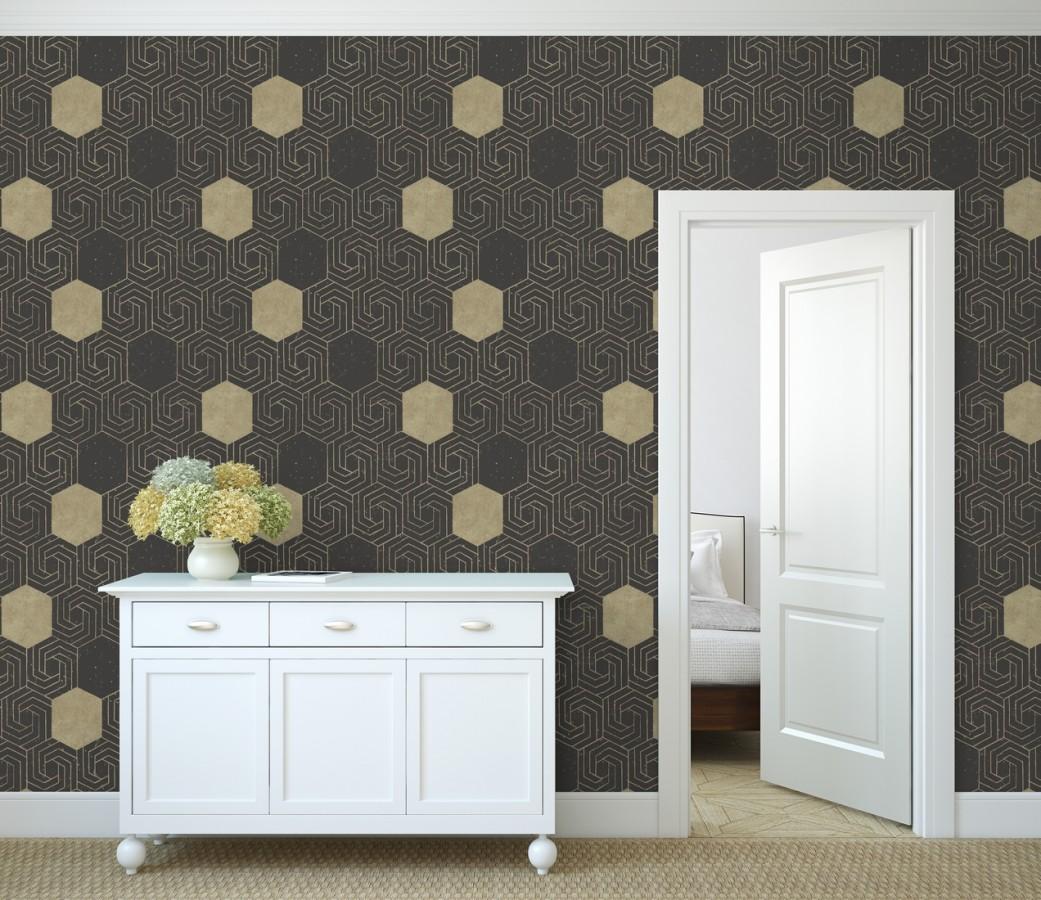Papel pintado geométrico hexagonal color aluminio dorado fondo negro mate Kendal 679829