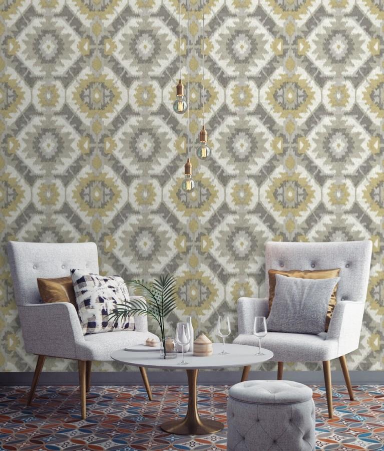 Papel pintado imitación tapiz estilo boho Boho Home 679830