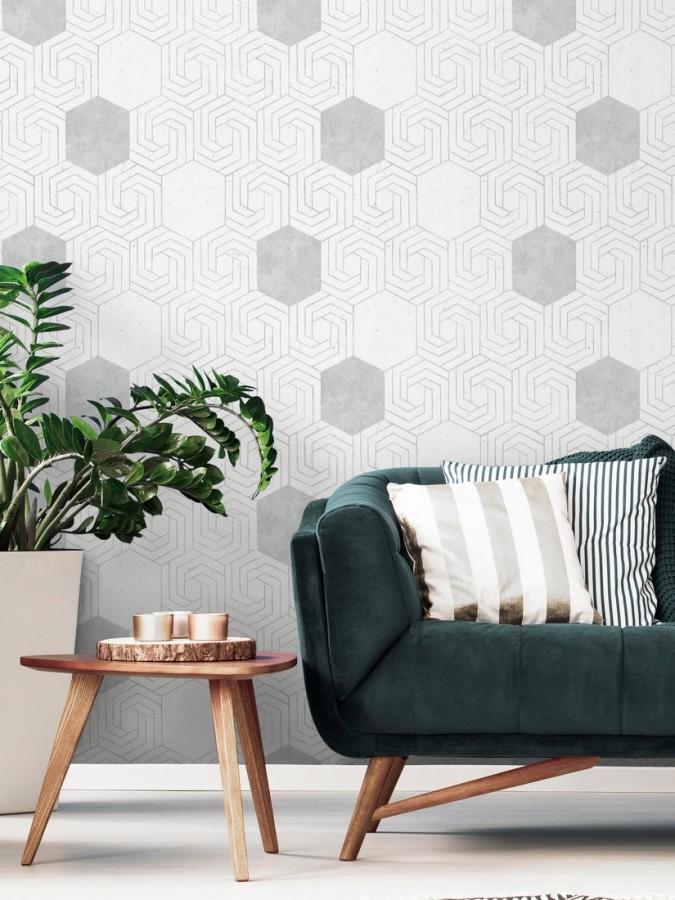 Papel pintado geométrico hexagonal color plata metalizado fondo blanco roto mate Kendal 679836
