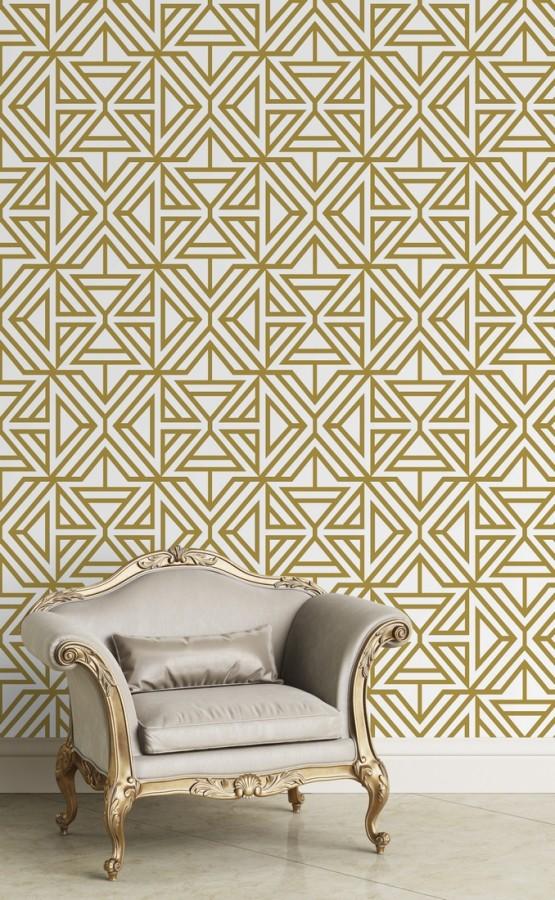 Papel pintado geométrico con terciopelo color amarillo mostaza Monaco 679837