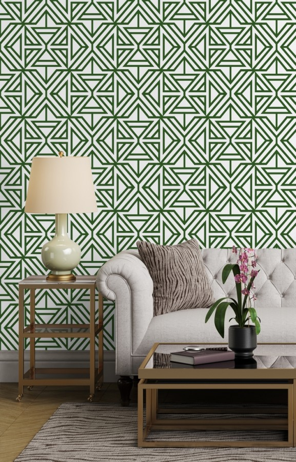 Papel pintado geométrico con terciopelo verde Monaco 679839
