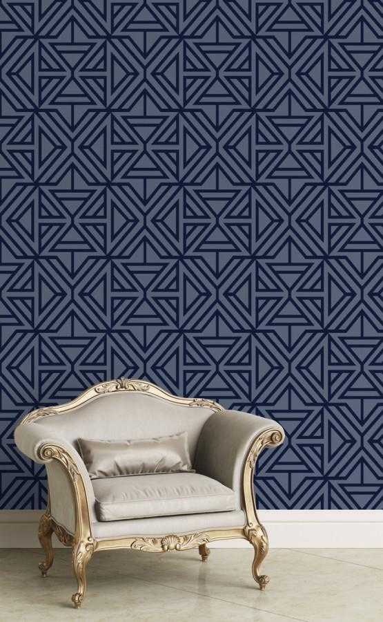 Papel pintado geométrico con terciopelo azul Monaco 679840