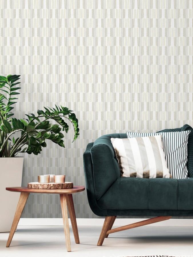 Papel pintado de lineas abstractas con textura textil Trevor Ornaments 680592