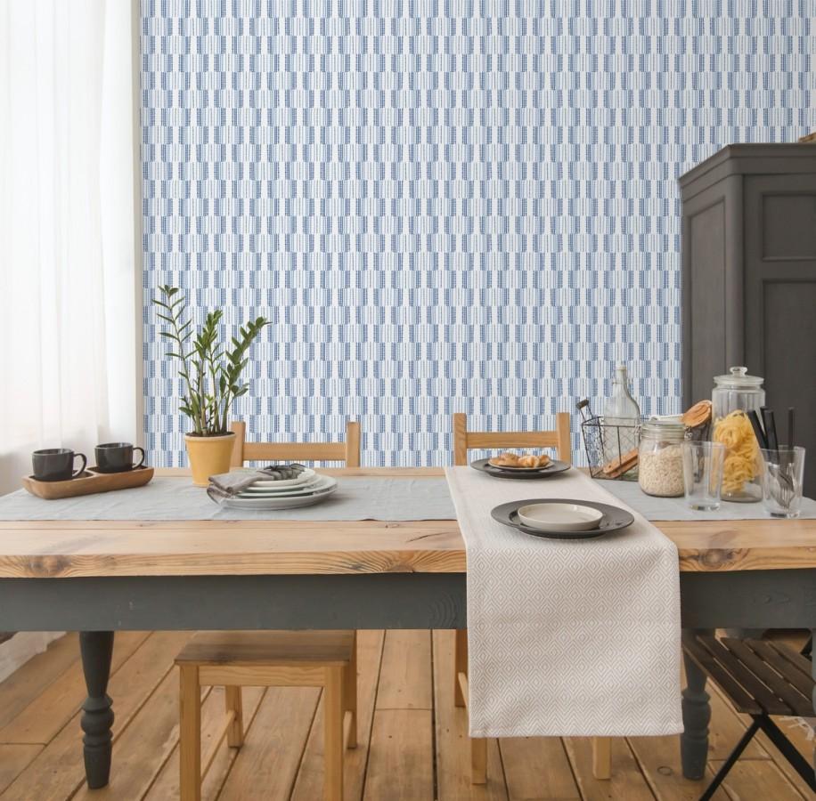 Papel pintado de lineas abstractas con textura textil Trevor Ornaments 680593