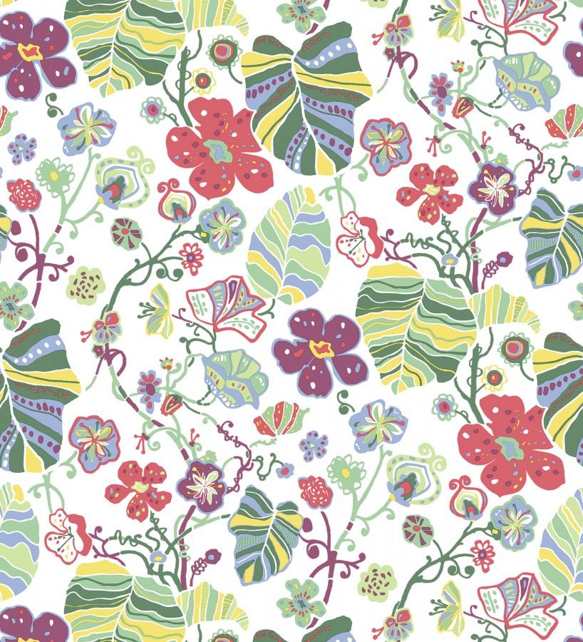 Papel pintado hojas y flores de jardín Candy Park 680595