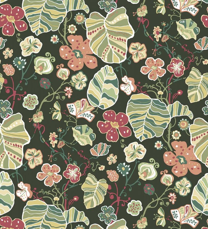 Papel pintado hojas y flores de jardín Candy Park 680598