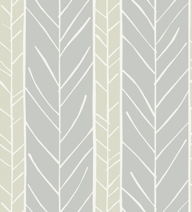 Papel pintado de rayas con dibujo de ramas estilo nórdico Winter Forest 680604