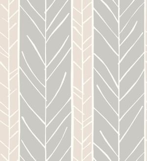 Papel pintado de rayas con dibujo de ramas estilo nórdico Winter Forest 680606