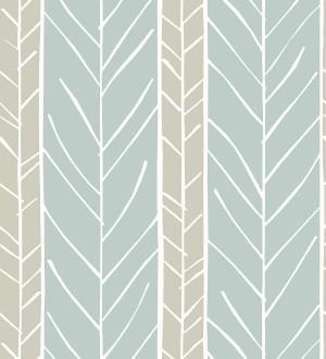 Papel pintado de rayas con dibujo de ramas estilo nórdico Winter Forest 680607
