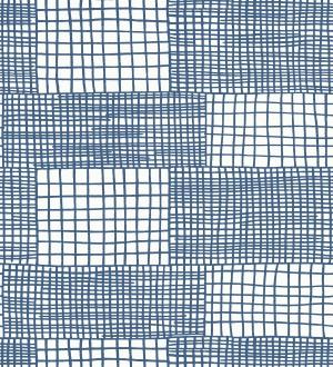 Papel pintado abstracto de lineas y cuadros azules de estilo moderno Gordon Squares 680609
