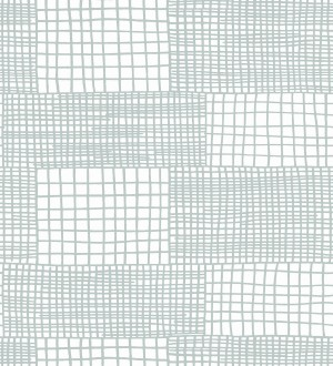 Papel pintado abstracto de lineas y cuadros celestes claro de estilo moderno Gordon Squares 680610