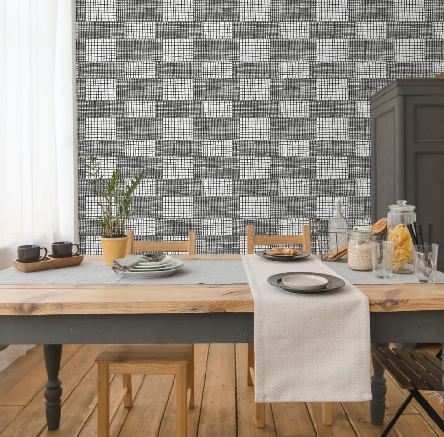 Papel pintado abstracto de lineas y cuadros negros de estilo moderno Gordon Squares 680611