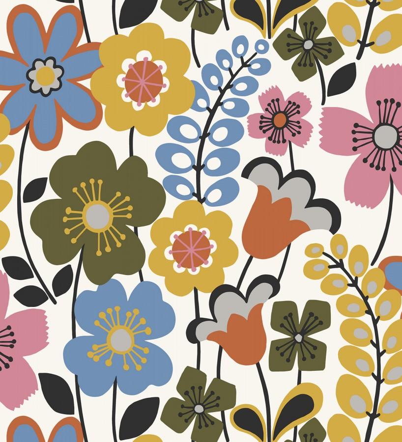 Papel pintado de flores dibujadas estilo retro Garden Flowers 680612