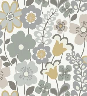 Papel pintado de flores dibujadas estilo retro Garden Flowers 680613