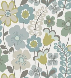 Papel pintado de flores dibujadas estilo retro Garden Flowers 680614