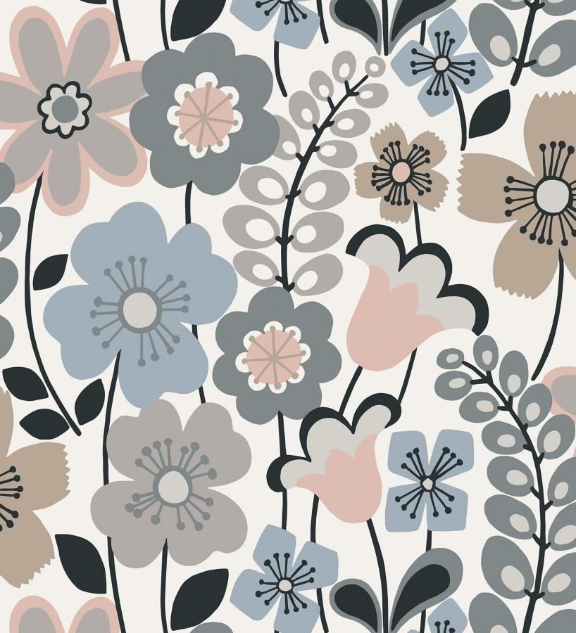 Papel pintado de flores dibujadas estilo retro Garden Flowers 680615
