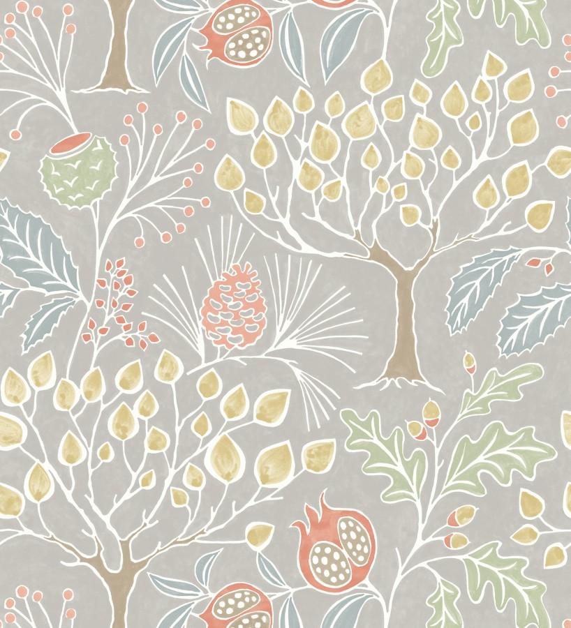 Papel pintado de frutos y árboles estilo nórdico Kayla Forest 680616