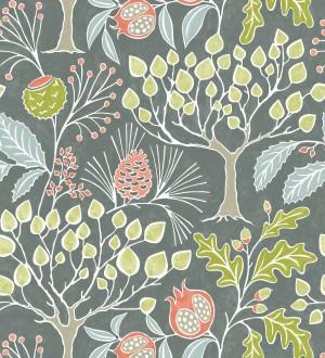 Papel pintado de frutos y árboles estilo nórdico Kayla Forest 680618